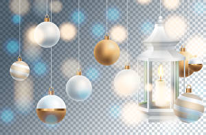 Pictures New year Vector Graphics Candles Balls