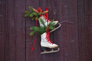 Picture Christmas Boards Branches Pine cone Ice skate