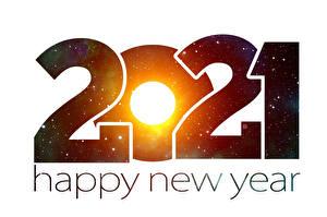 Fonds d'écran Nouvel An Mot Anglais Fond blanc 2021 Animaux images