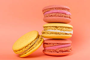 Pictures Closeup Colored background French macarons Multicolor