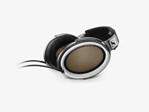 Desktop hintergrundbilder Großansicht Kopfhörer Grauer Hintergrund Sennheiser he-1