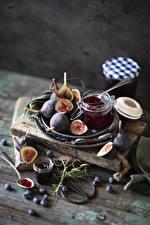 Wallpaper Ficus carica Varenye Blueberries Wood planks Jar