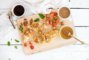 Wallpaper Croissant Strawberry Honey Coffee Breakfast Tray Food