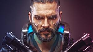 Wallpaper Cyberpunk 2077 Men Face Bearded Games