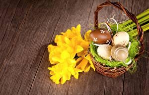 Fonds d'écran Pâques Narcissus Panier en osier Fleurs images