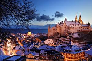Hintergrundbilder Abend Haus Schweiz See Burg  Städte