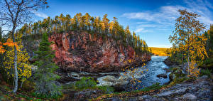 Pictures Finland Autumn River Forests Trees Cliff Kuusamo Nature