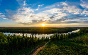 Image Finland Forest River Sunrise and sunset Sky Clouds Sun Taivalkoski Nature