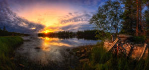 Images Finland River Sunrise and sunset Sky Clouds Kuusamo Nature