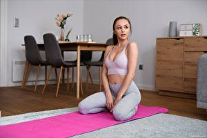 Images Fitness Alya Stark Pose Sitting Staring young woman