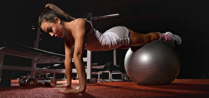 Photo Fitness Ball Hands Brown haired Dumbbell Plank (exercise) Girls
