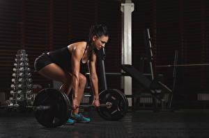 Hintergrundbilder Fitness Brünette Hand Posiert Hantelstange Körperliche Aktivität Mädchens
