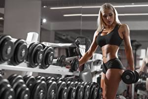 Picture Fitness Dumbbell Blonde girl Hands Belly Girls