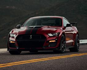 Wallpaper Ford Wine color Front Mustang Shelby GT500 2019 Cars