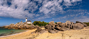 Picture France Coast Lighthouses Stone Panorama Clouds Brittany Nature