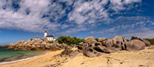 Hintergrundbilder Frankreich Küste Leuchtturm Stein Wolke Brittany, panorama Natur
