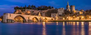 Photo France Houses Bridges Bay Night Street lights Avignon Cities