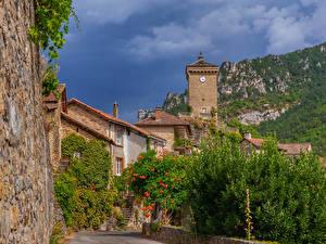 Bakgrundsbilder på skrivbordet Frankrike Byggnader Klocka Peyreleau Aveyron stad