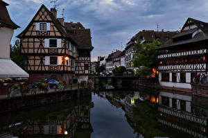 Wallpapers France Strasbourg Evening Houses Cities pictures images