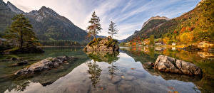 Picture Germany Autumn Mountain Stone Lake Panorama Bavaria Alps Nature