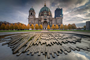 Wallpapers Germany Berlin Cathedral Church Clouds Berliner Dom