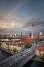 Image Germany Berlin Houses Bridges River Tower Street