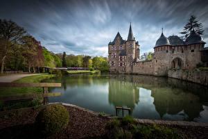 Image Germany Castle Pond Towers Reflection Burg Satzvey Nature