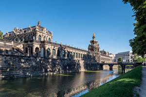 Image Germany Dresden Bridge Museums Design Canal Zwinger palace