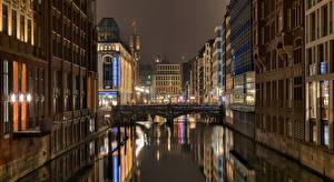 Wallpapers Germany Hamburg Houses Bridge Night Cities