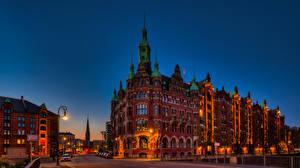 Bakgrundsbilder på skrivbordet Tyskland Hamburg Hus Broar Gate Gatubelysning