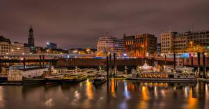 Fonds d'écran Allemagne Hambourg Quai Bateau fluvial Maison Nuit Villes images