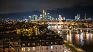 Image Germany Houses Frankfurt Rivers Bridge Night time Cities