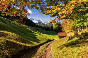 Pictures Germany Mountains Autumn Bavaria Alps Trees Upper Bavaria Nature
