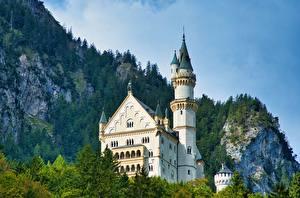 Fonds d'écran Allemagne Montagnes Château fort Neuschwanstein Alpes Tour (édifice) Nature images