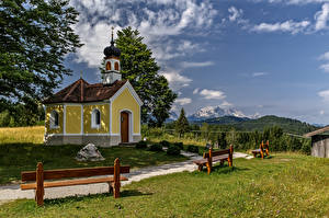 Picture Germany Mountains Church Bavaria Alps Bench Nature