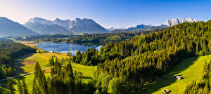 Wallpaper Germany Mountain Lake Landscape photography Forest Panorama Bavaria Alps Nature