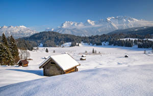 Wallpapers Germany Mountain Winter Bavaria Alps Snow Nature