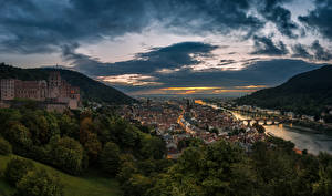 Image Germany Rivers Houses Bridges Evening Hill Clouds Heidelberg Cities
