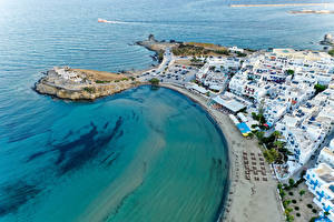 Wallpapers Greece Coast Houses Street From above Naxos City Cities pictures images