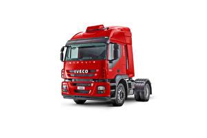 Bakgrunnsbilder IVECO Lastebiler Rød Hvit bakgrunn  automobil