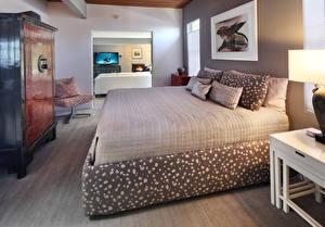 Fonds d'écran Aménagement d'intérieur Design Chambre à coucher Lit Oreiller Fleurs images
