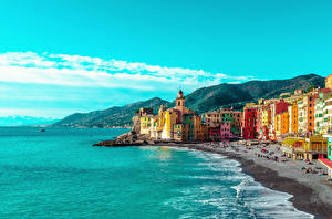 Wallpapers Italy Liguria Houses Bay Beach Hill Camogli Cities pictures images