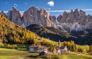 Image Italy Mountains Autumn Church Houses Scenery Alps Rock Dolomites Nature