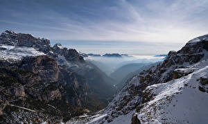 Pictures Italy Mountains Snow Crag Alps Dolomites Nature