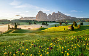 Pictures Italy Mountains Grasslands Morning Alps Fog Dolomites