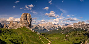 Pictures Italy Mountain Sky Panorama Alps Crag Clouds Dolomites Nature