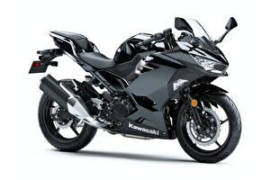 デスクトップの壁紙、、川崎重工業、黑、白背景、Ninja 400, 2017- -、オートバイ