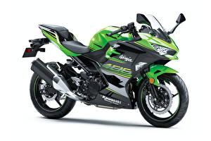 Wallpaper Kawasaki Green White background Ninja 400, 2017 --