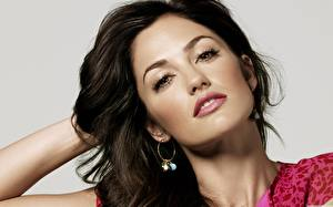 Wallpaper Minka Kelly Brunette girl Glance Makeup Gray background Face Celebrities Girls