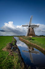 Photo Netherlands Canal Windmills Reflection Grass Nature